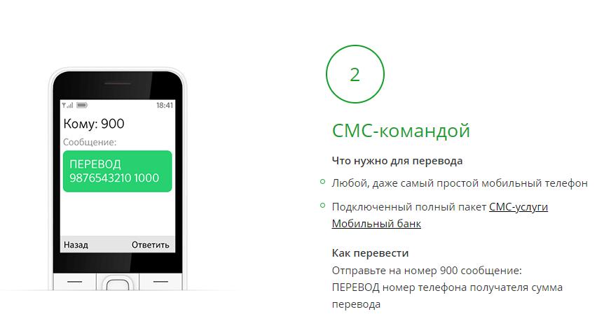 Как перевести деньги с карты Сбербанка по СМС