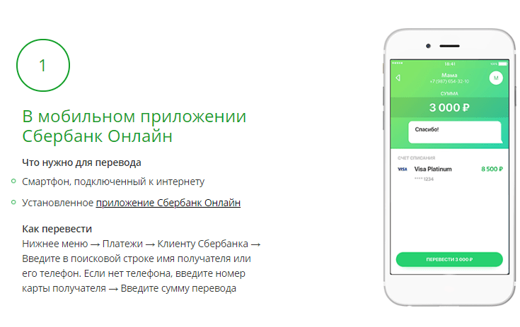 Карточный перевод через интернет-банк
