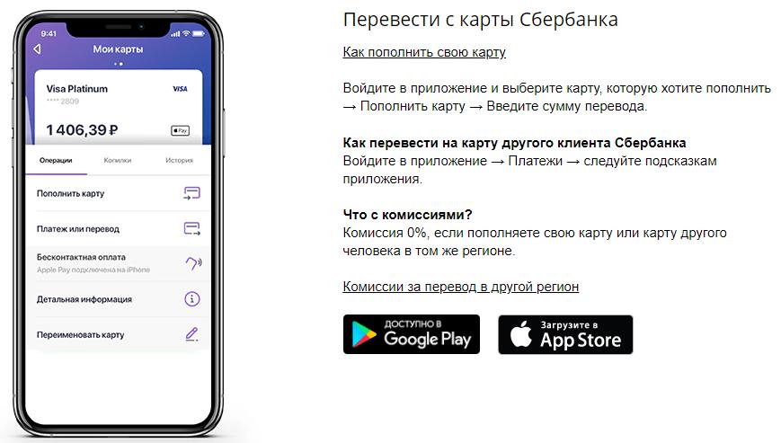 Переводы на карты в приложении