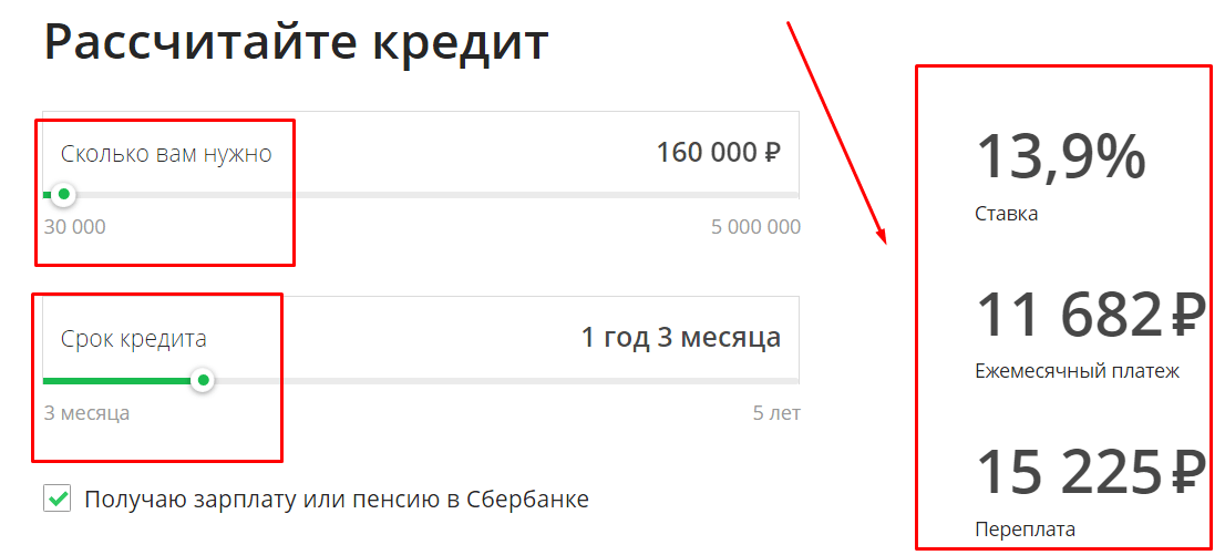 Пример расчета по кредитной карте