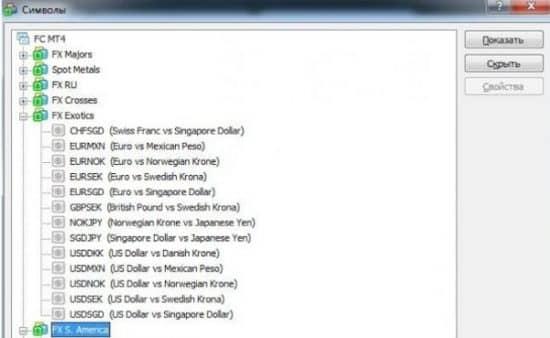 Пример групп валют